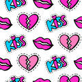 Lips, hearts and kiss patches seamless pattern