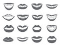 Lips icon set of silhouettes lips vector with a smile the mouth with a kiss illustration isolated on white background Stock Images