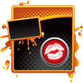 Lips kiss on orange and black halftone grungy ad Stock Photo