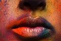 Lips of model with colorful art make-up, holi colors Royalty Free Stock Photo