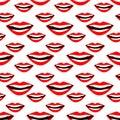 Lips seamless pattern. Cosmetics and makeup