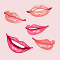 Lips set of a glossy Stock Images