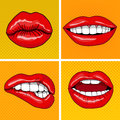 Lips Set in Retro Pop Art Style Royalty Free Stock Photo