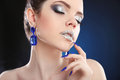 Lips. Sparkle Makeup. Closeup of beauty fashion girl with silver Royalty Free Stock Photo