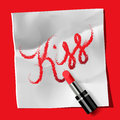 "Lipstick and inscription ""kiss"" vector eps image Stock Images"