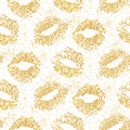 Lipstick kiss glitter seamless background. Gold particles texture, shiny glamour effect.