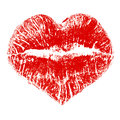 Lipstick kiss heart shape isolated white Stock Images