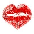 Lipstick kiss in heart shape Royalty Free Stock Photo