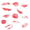 Lipstick kiss isolated on white different shapes Stock Photos