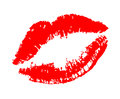 Lipstick kiss on white Royalty Free Stock Photo