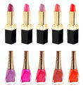 Lipstick and nailpolish in different colors Royalty Free Stock Photo