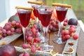 Liqueur autumn grain plum and spices Stock Photo
