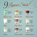 Liqueur shots set nine liquer alcohol recipes and vector illustrations on vintage background Royalty Free Stock Photos