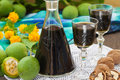 Liqueur from young green walnuts Royalty Free Stock Photo
