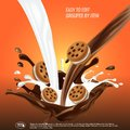 Liquid chocolate and milk flow and spash mixed, sandwich cookies, 3d vector illustration.
