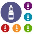 Liquid for electronic cigarettes icons set
