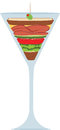 Liquid lunch martini glass sandwich in a to illustrate the concept of a Royalty Free Stock Photos