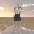 Liquid man in desert with goldfish swimming in body his Royalty Free Stock Photos