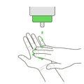 Liquid soap appling, vector sign