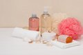 Liquid soap aromatic bath salt and other toiletry Royalty Free Stock Photography