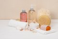 Liquid soap aromatic bath salt and other toiletry Royalty Free Stock Photo