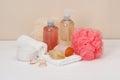 Liquid soap aromatic bath salt and other toiletry Stock Photos