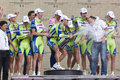 Liquigas Doimo Team celebrates victory of Basso Royalty Free Stock Photo