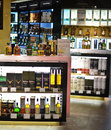 Liquor bottles in a duty free store Royalty Free Stock Photos