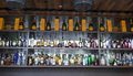 Liquor choice and variety of on display at the bar shelves photo was taken on august Stock Images