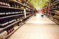 Liquor department in hypermarket Royalty Free Stock Photo