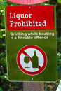 A liquor prohibited, drinking while boating is an offense sign Royalty Free Stock Photo