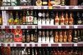Liquor shelf in store Royalty Free Stock Photo