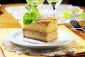 Liquor soaked cake slice of with lattice topping Royalty Free Stock Photography