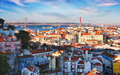 Lisbon with bridge Royalty Free Stock Photo