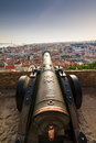 Lisbon cannon big ancient at castle sao jorge in portugal looking over the city Royalty Free Stock Photo