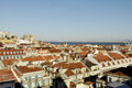 Lisbon castle cathedral and rooftops beautiful cityscape of old town in a sunny late afternoon Royalty Free Stock Photos