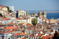 Lisbon cathedral and tagus river lisbon port sé de lisboa at alfama district in portugal Royalty Free Stock Image