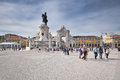 Lisbon City Gate and statue of King Jose I Royalty Free Stock Photo