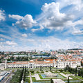 Lisbon cityscape bird view over with mosteiro dos jeronimos Royalty Free Stock Photos