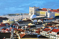 Lisbon downtown panorama of from castelo Stock Photography