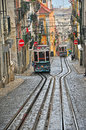 Lisbon funicurals portugal december old funiculars goes by the street in district bairro alto on december transport system has Stock Image
