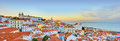 Lisbon Historical City Panorama, Alfama architecture Royalty Free Stock Photo