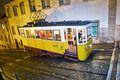 Lisbon at night famous tram portugal december traditional yellow downtown by on december trams are used by everyone and also keep Stock Photography