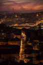 Lisbon at night seen from the senhora do monte mirador portugal Royalty Free Stock Image