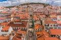 Lisbon, Portugal city skyline over Santa Justa Rua Royalty Free Stock Photo