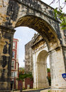Lisbon portugal the corner of the hoary aquaduct in amoreiras quarter view an angle created by great arch and one common arches Royalty Free Stock Photos