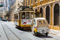 Lisbon, Portugal - May 18, 2017: The famous old tram no. 28 and