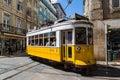 Lisbon, Portugal - May 18, 2017: Typical old tram in Lisbon, Por