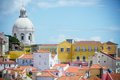 Lisbon portugal panoramic view of the alfama district in Royalty Free Stock Photos