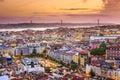Lisbon, Portugal Skyline at Night Royalty Free Stock Photo